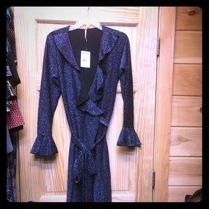 BNWT free people wrap dress, navy with sparkle, L